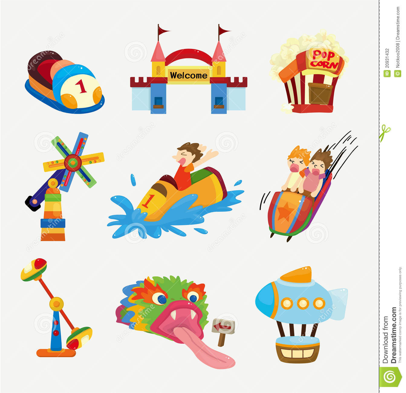 Cartoon Playground Icons Stock Vector Illustration Of