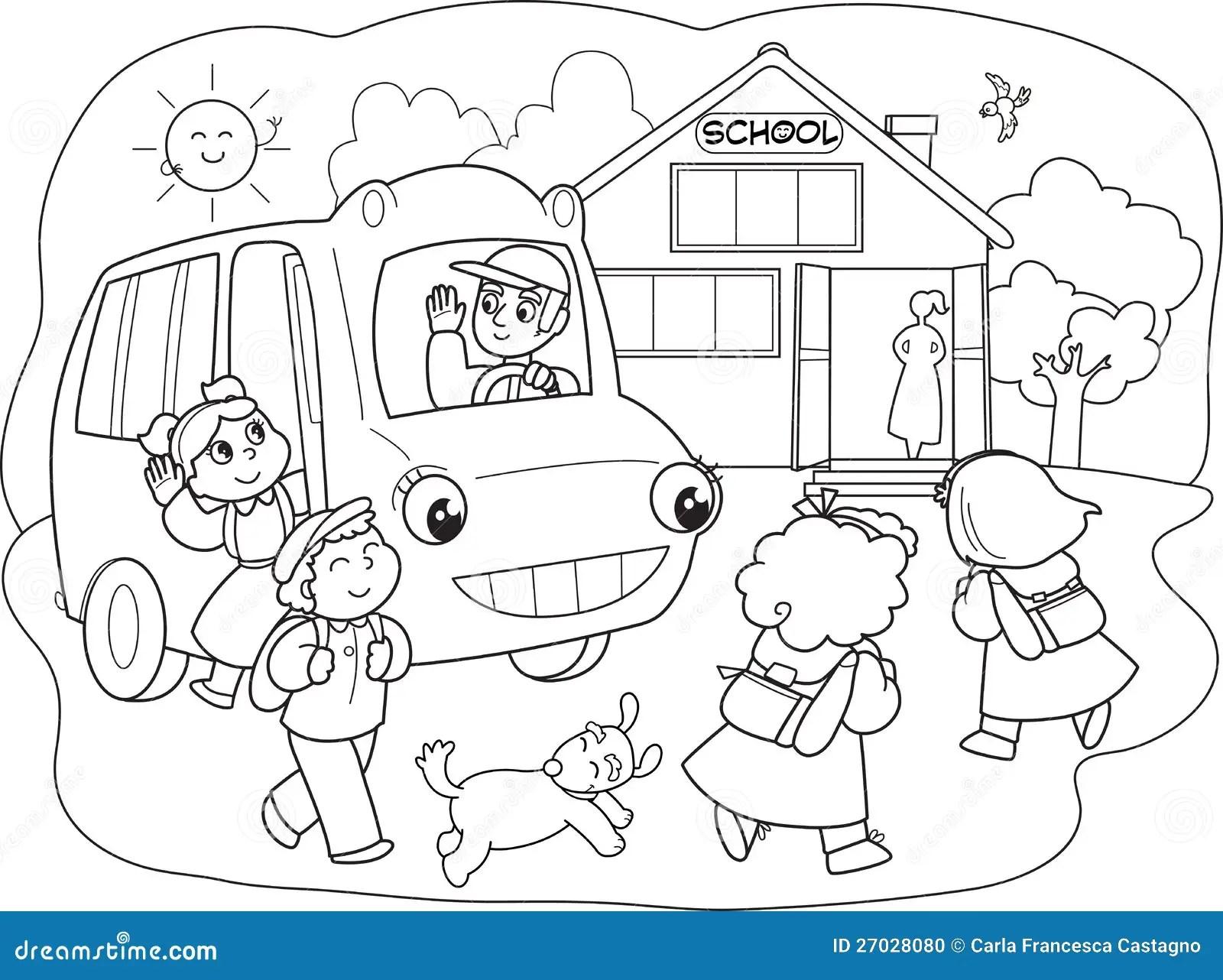 Cartoon Pupils Schoolbus Stock Illustrations 44 Cartoon