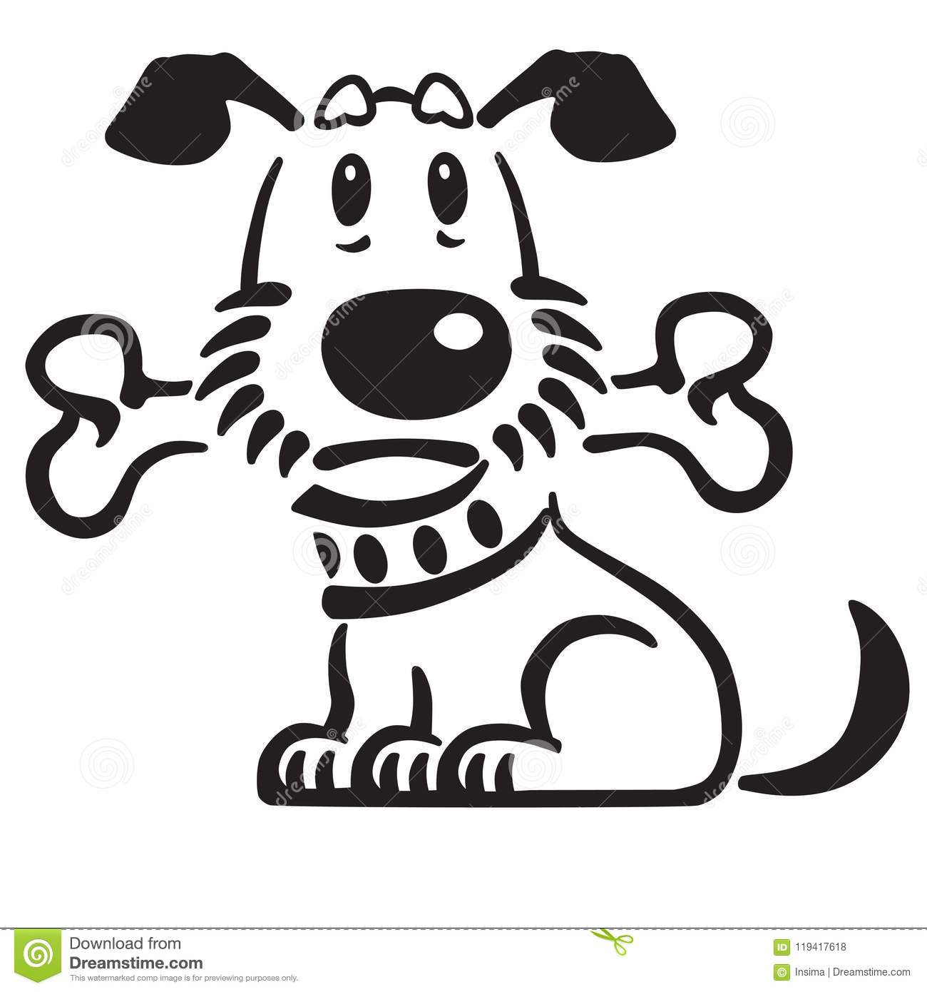 Cartoon Puppy Dog Holding A Bone In His Mouth Stock Vector