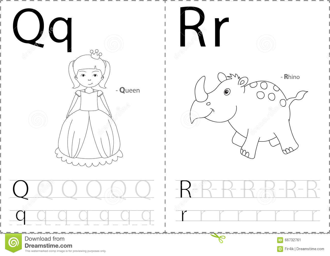 Cartoon Queen And Rhino Alphabet Tracing Worksheet