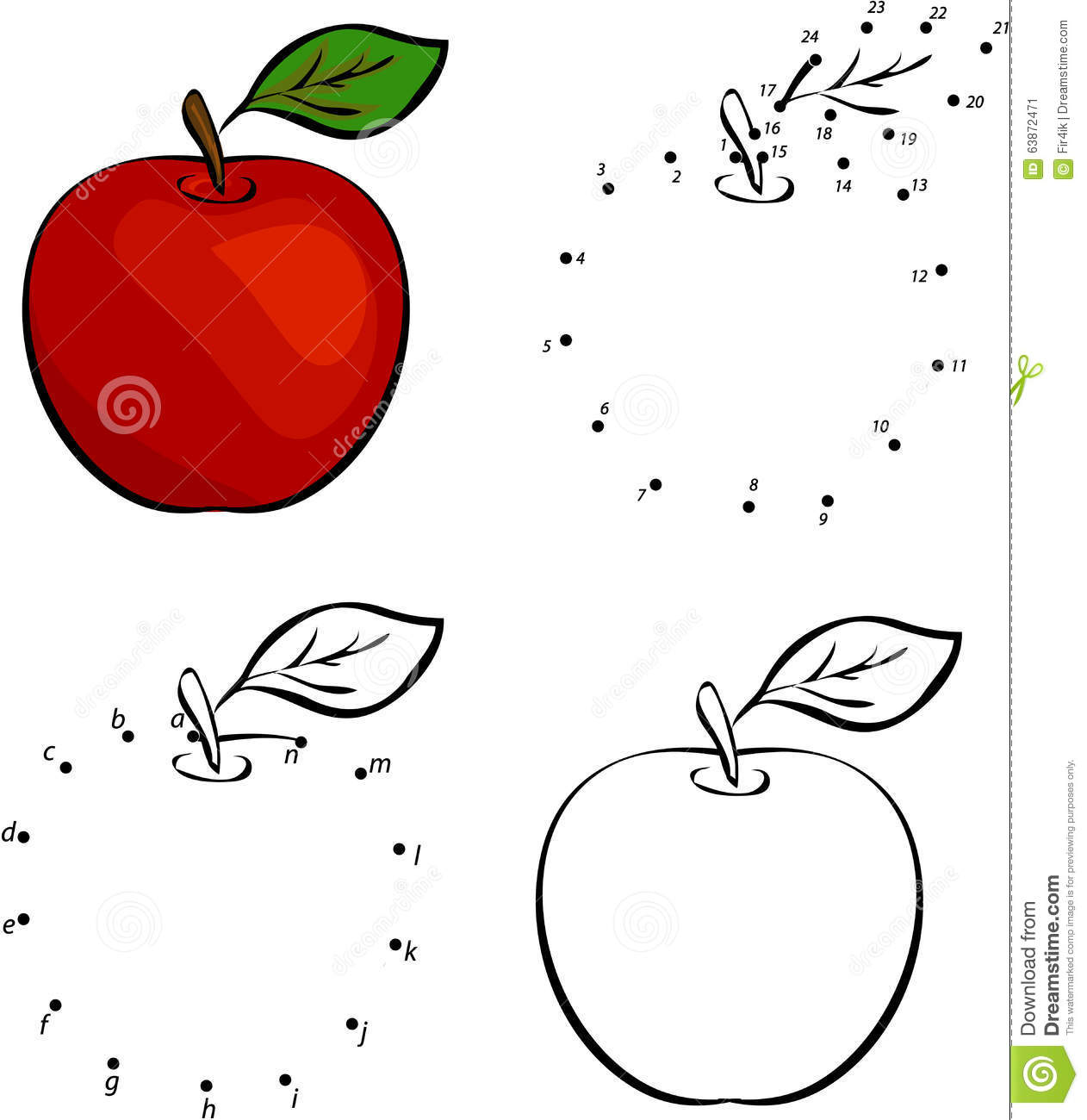 Cartoon Red Apple Vector Illustration Coloring And Dot