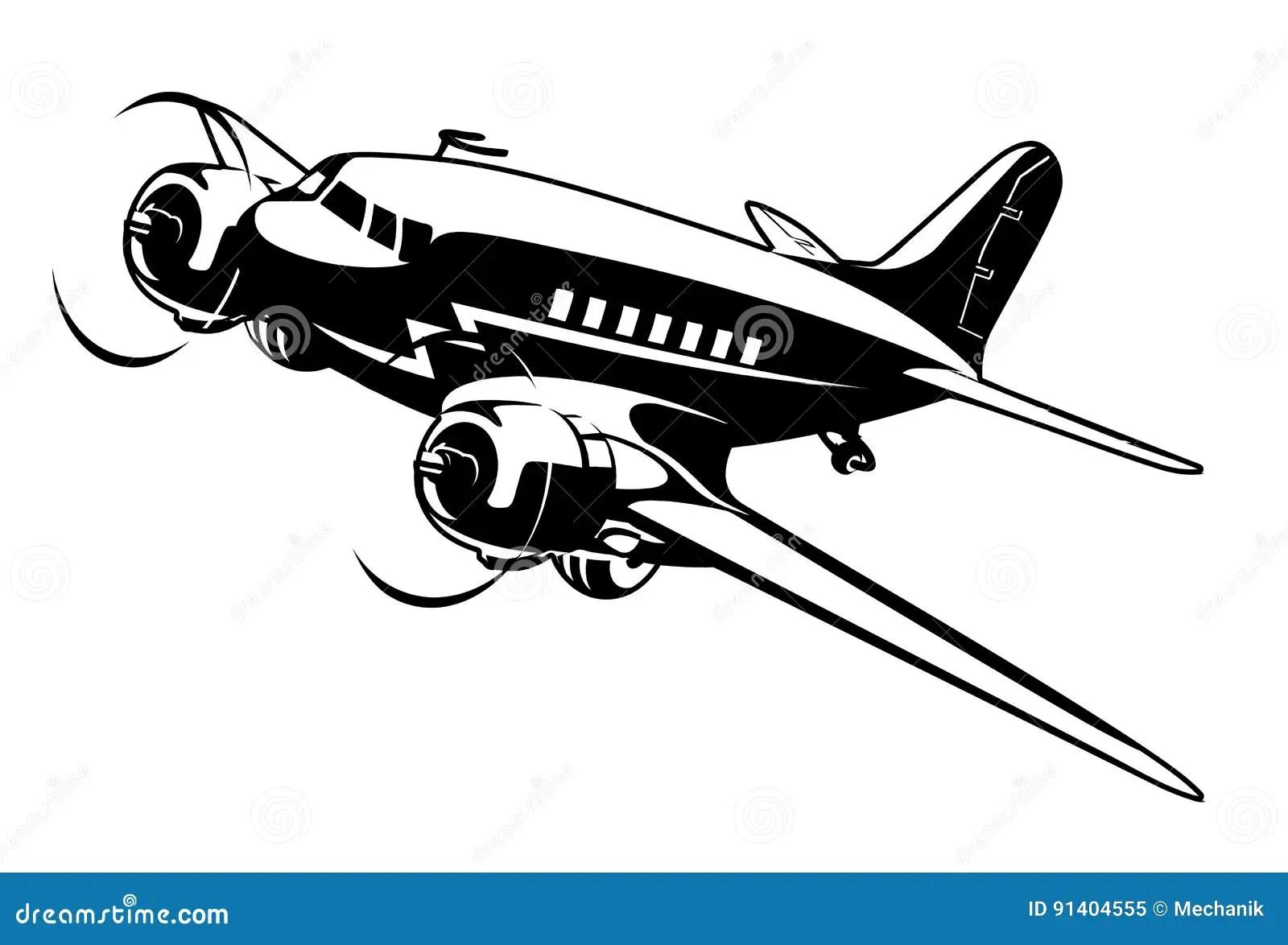 Cartoon Retro Airplane Stock Vector Illustration Of Cute