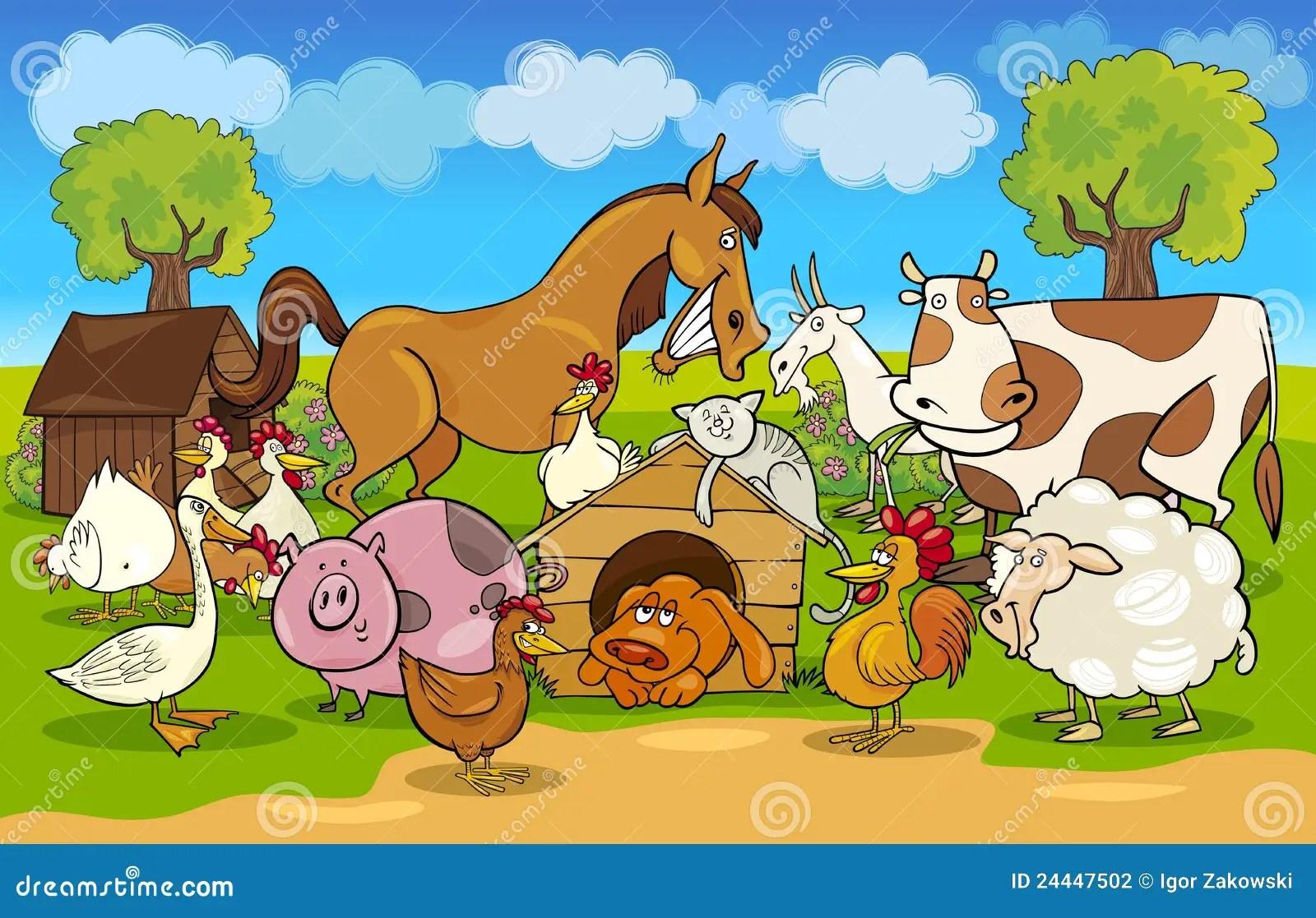 Cartoon Rural Scene With Farm Animals Stock Photography