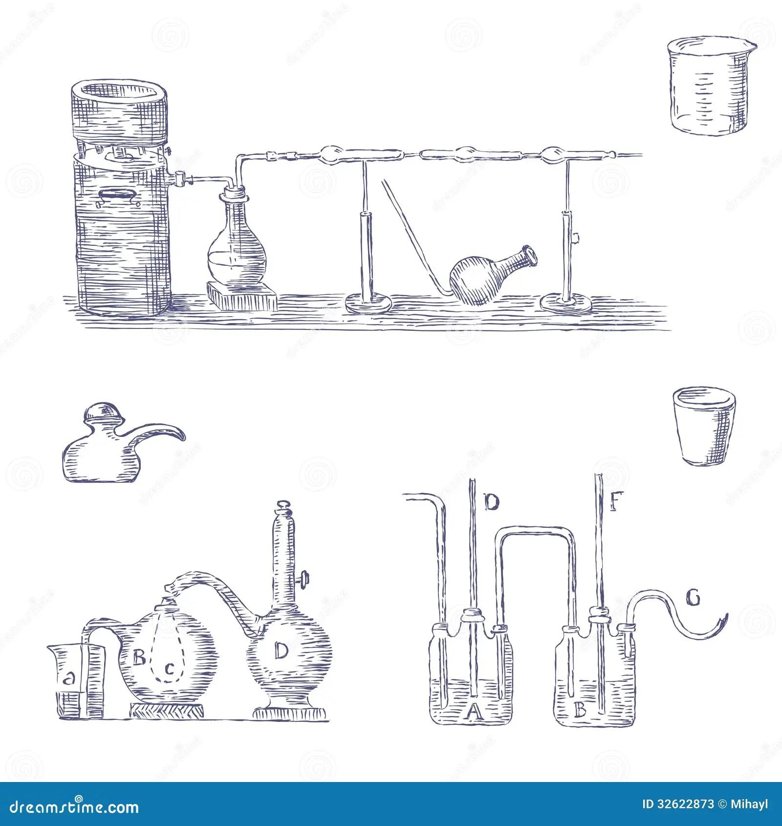 Cartoon Set Of Chemical Equipment Stock Photos