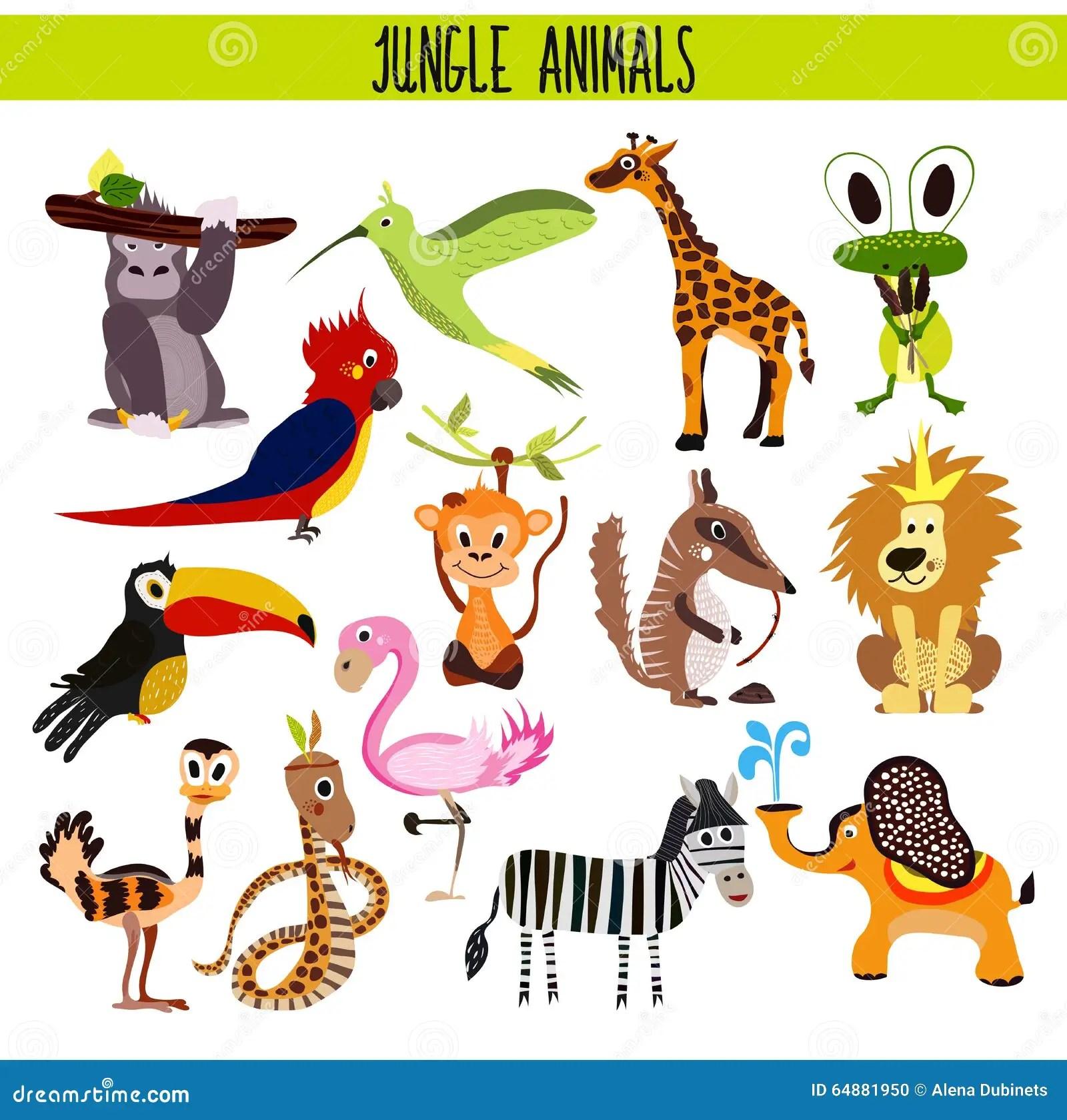 Cartoon Set Of Cute Animals Monkey Lion Zebra Elephant