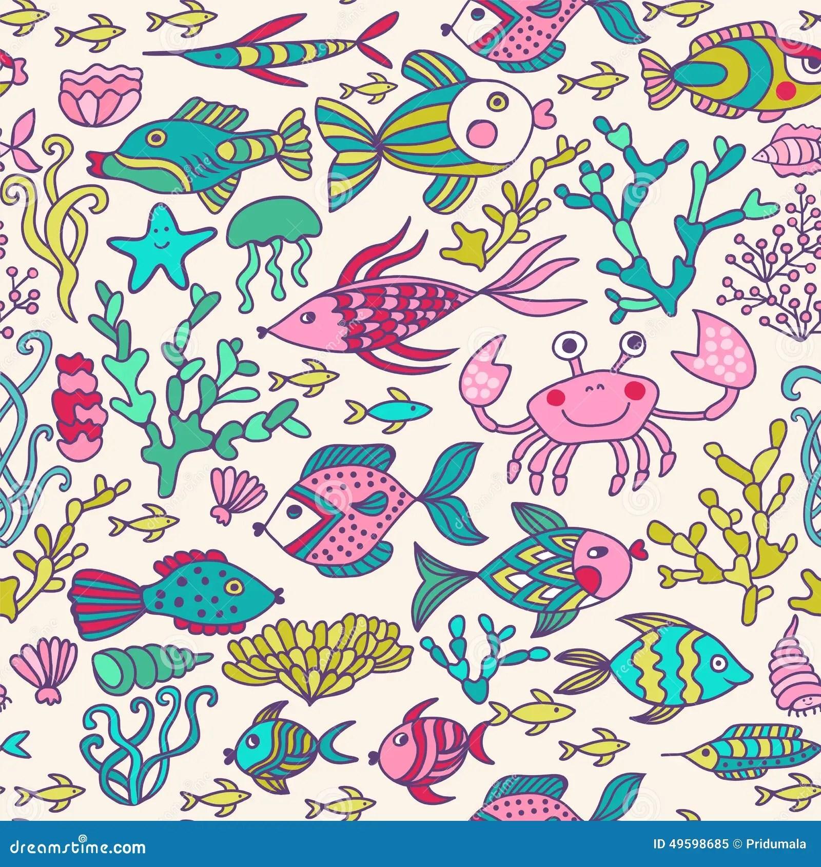 Cartoon Set With Sea Live Vector Set Colorful Sea