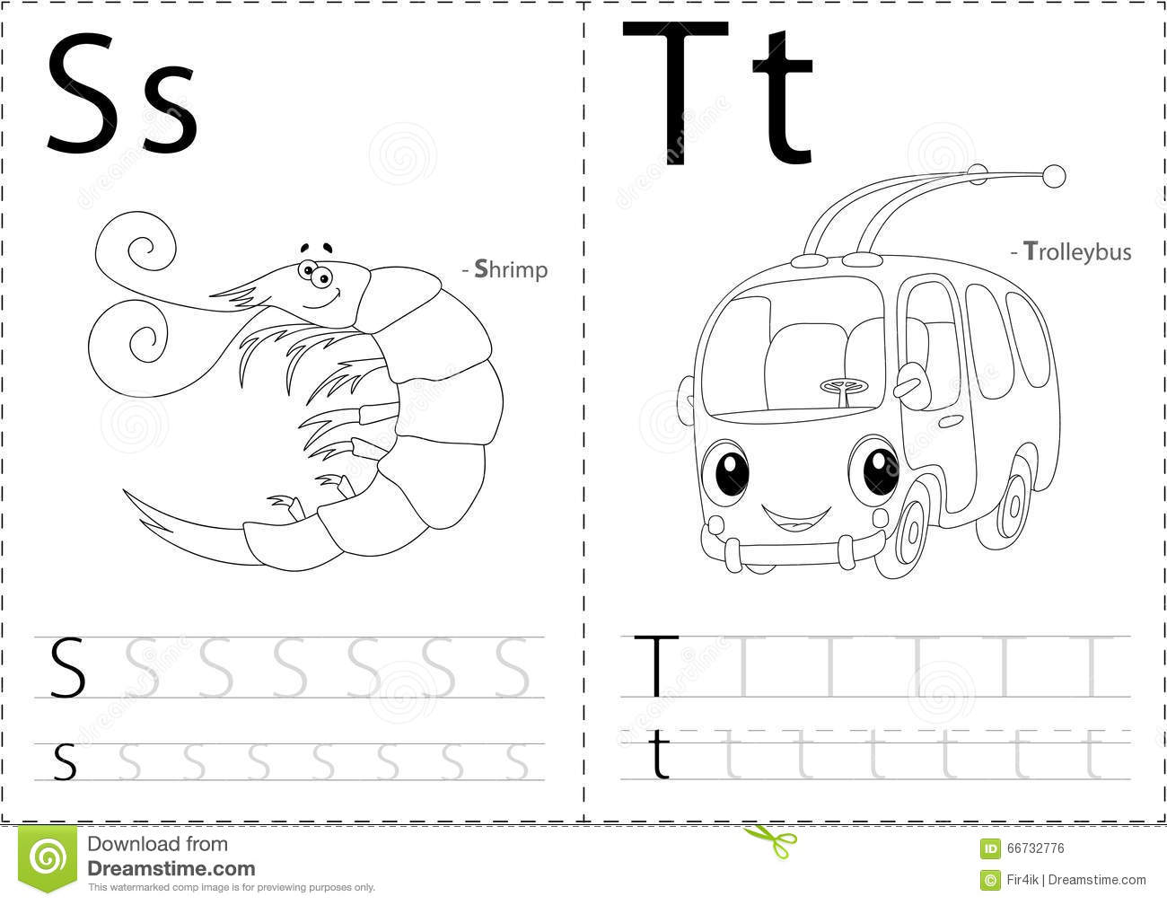 Cartoon Shrimp And Trolleybus Alphabet Tracing Worksheet