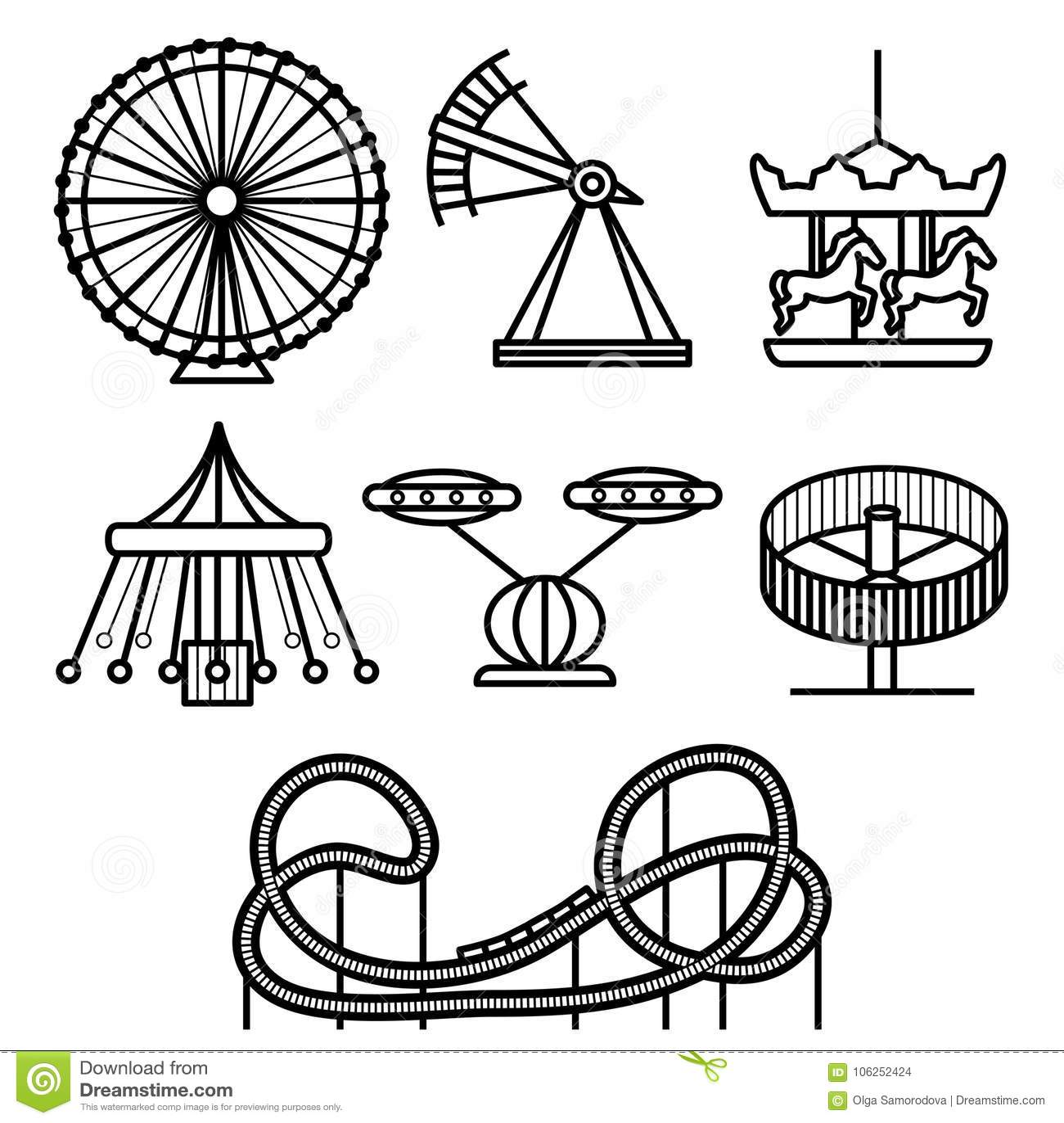 Vector Circus Funfair And Fairground Icon Set Cartoon