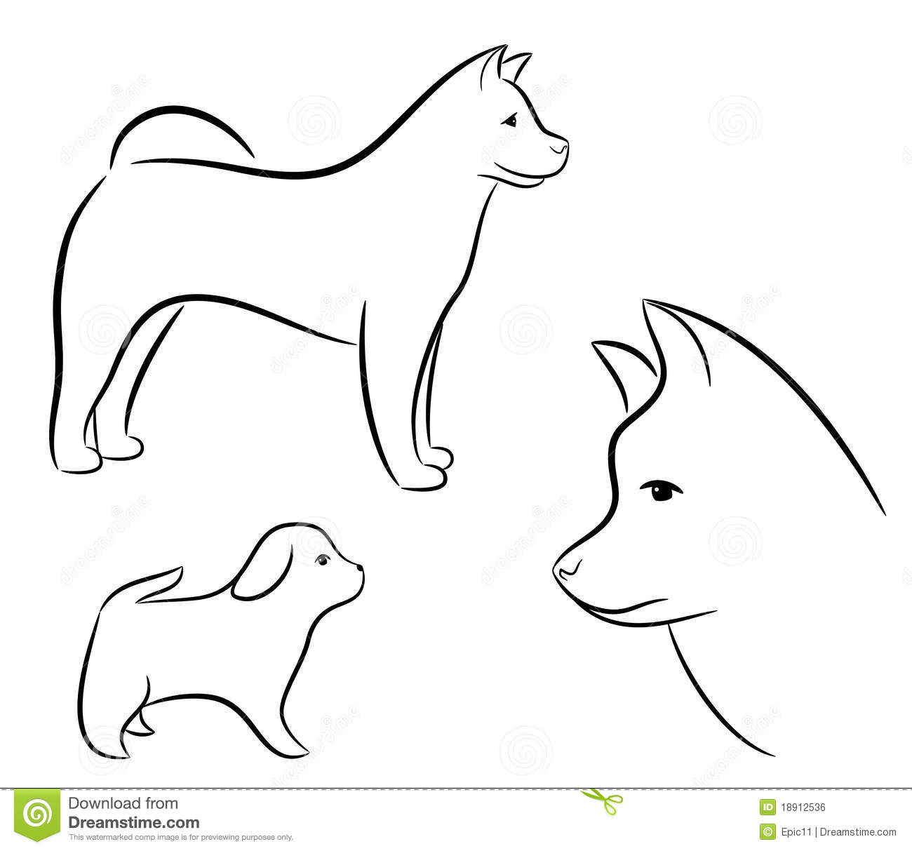 Cartoon Silhouette Of A Dog Royalty Free Stock Image