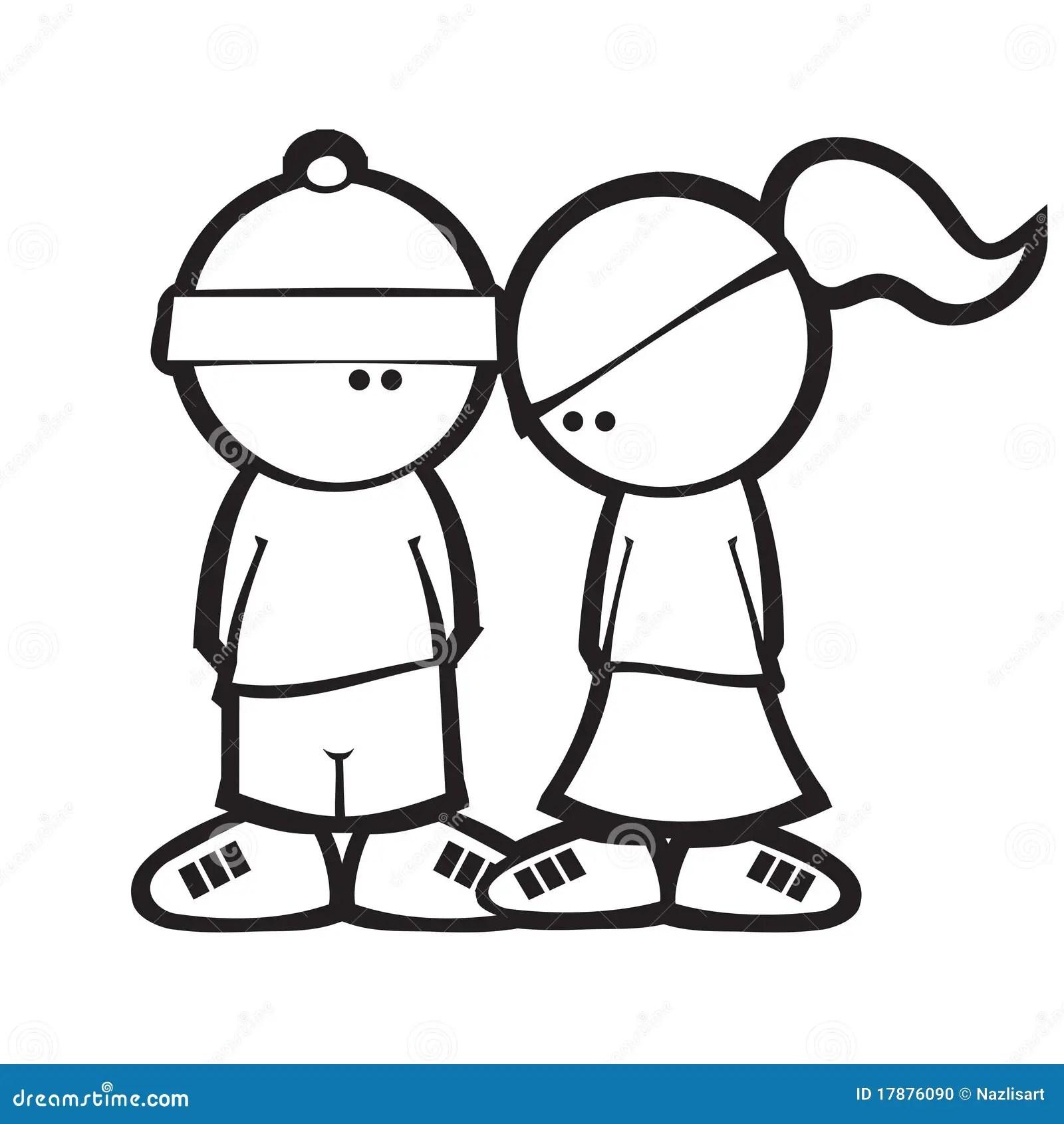 Cartoon Simple Style Boy Amp Girl Flirting Stock Photo