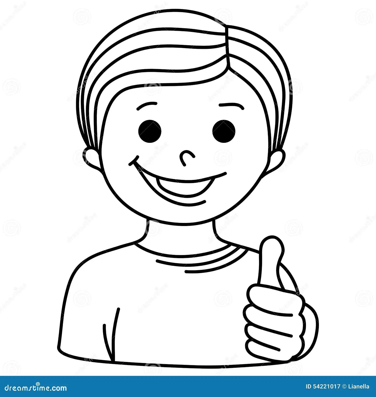 Cartoon Smiling Boy Showing Thumb Up Stock Vector