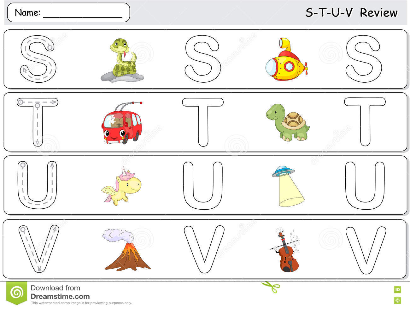 Cartoon Snake Submarine Trolleybus Turtle Unicorn Ufo Volcano And Violin Alphabet Tracing