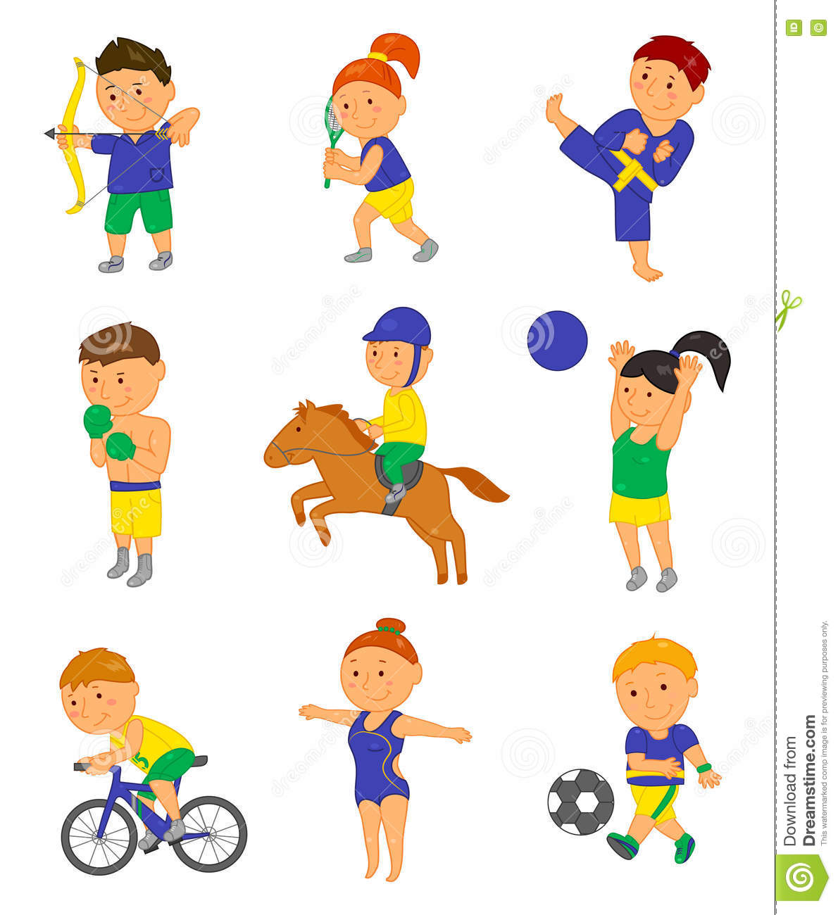 Cartoon Sport Kids Vector Illustration For Brazil