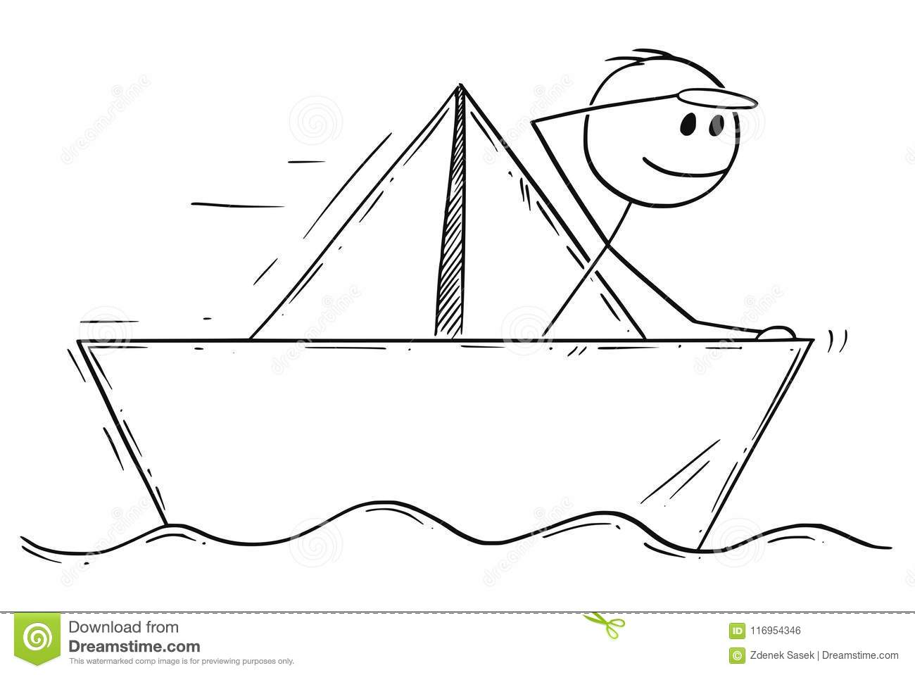 Cartoon Of Businessman Sailing Paper Ship Or Boat Stock