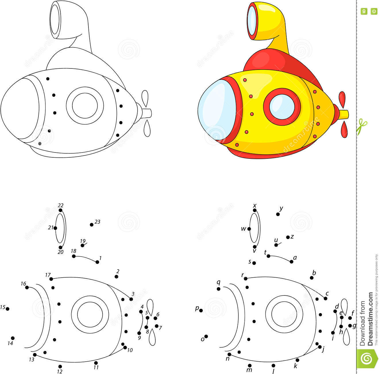 Cartoon Submarine Coloring Book And Dot To Dot Game For