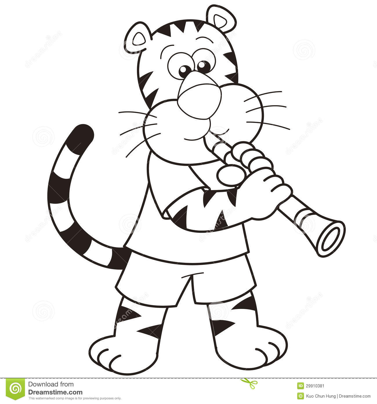 Cartoon Tiger Playing A Clarinet Stock Image