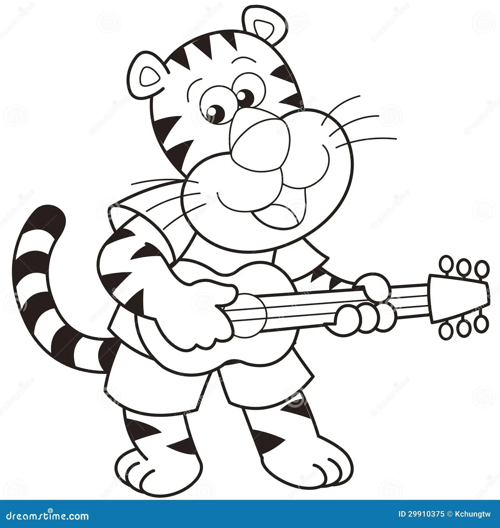 Cartoon Tiger Playing A Guitar Royalty Free Stock Photo