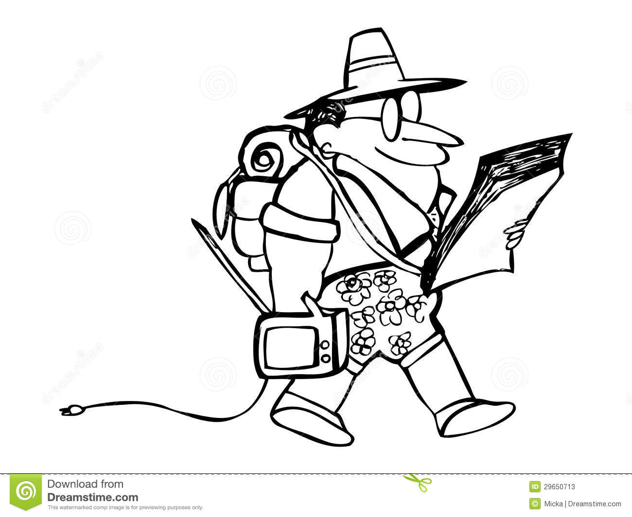 Cartoon Tourist With Own Tv And Map Stock Photos