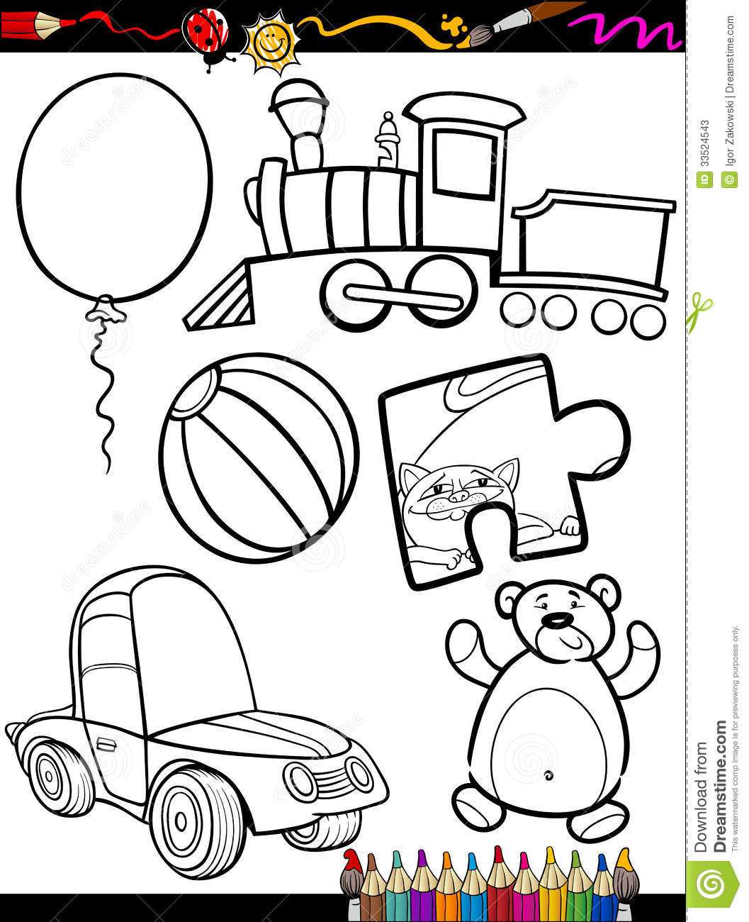 Cartoon Toys Objects Coloring Page Stock Vector