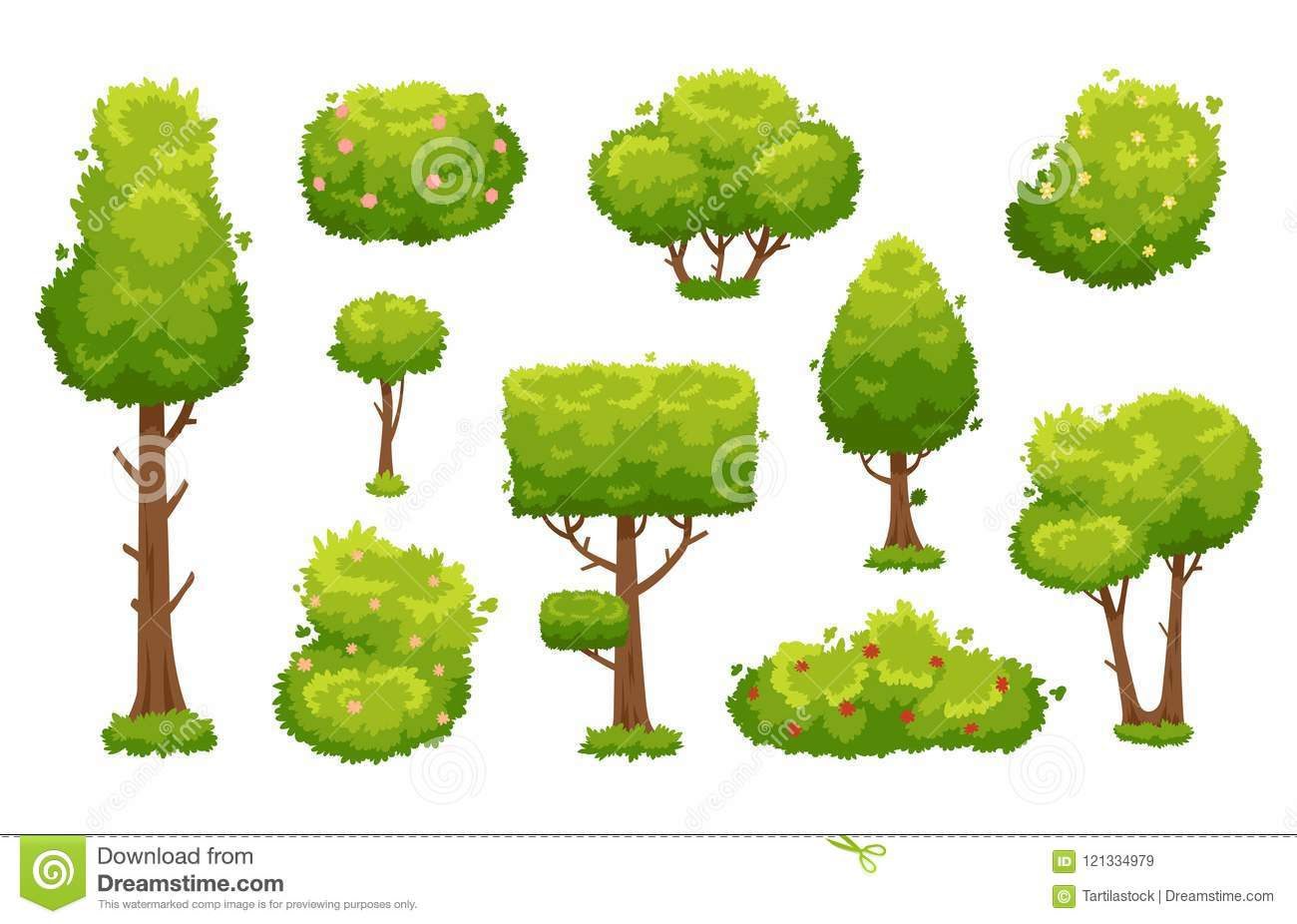 Cartoon Trees And Bushes. Green Plants With Flowers For
