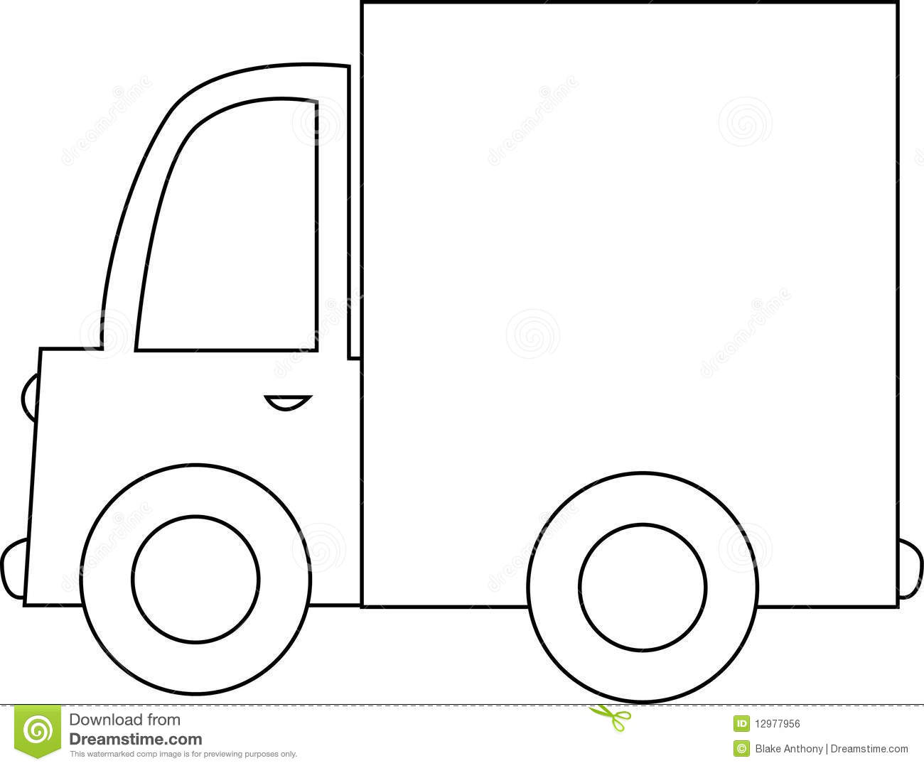 Cartoon Truck Black And White Stock Vector