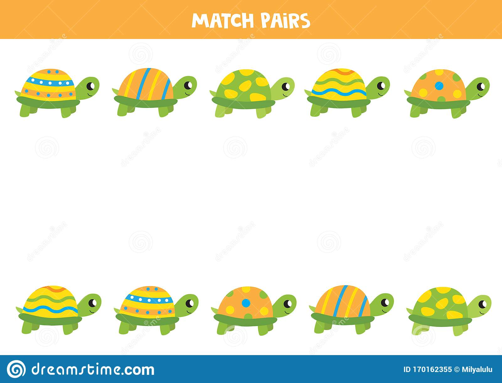 Cartoon Turtle Matching Game Find Pair To Each Turtle