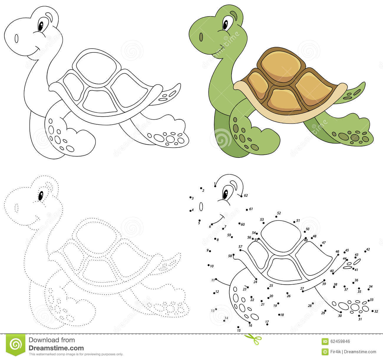 Cartoon Turtle Vector Illustration Dot To Dot Game For