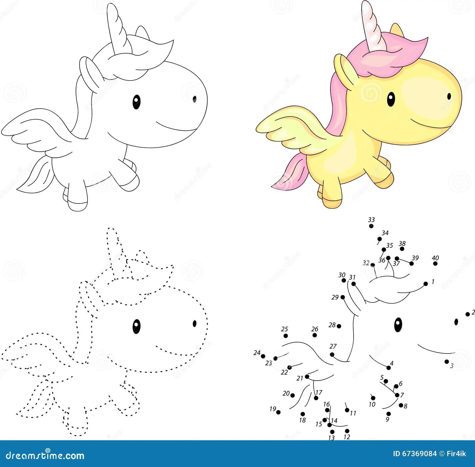 Cartoon Unicorn Dot To Dot Game For Kids Stock Vector