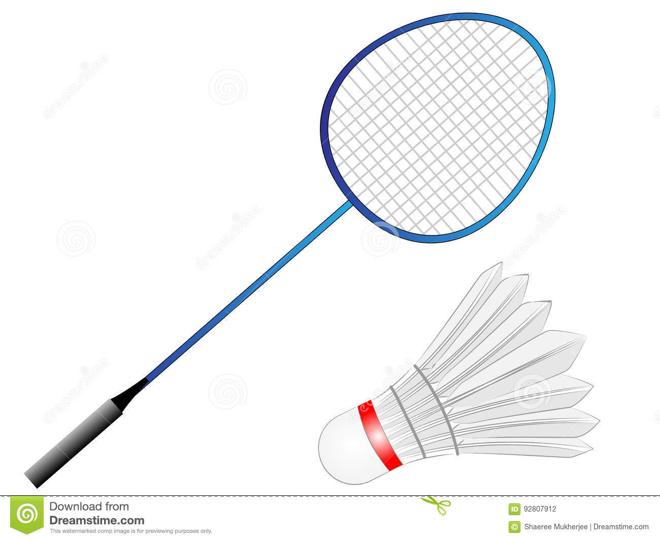 Cartoon Vector Badminton Racket With Feather Stock Vector