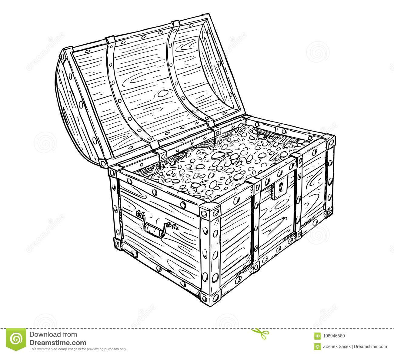 Cartoon Vector Drawing Of Old Open Pirate Treasure Chest