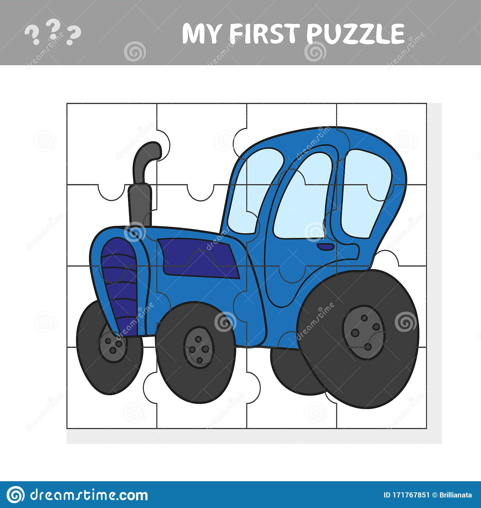 Education Puzzle Game For Preschool Children With Tractor