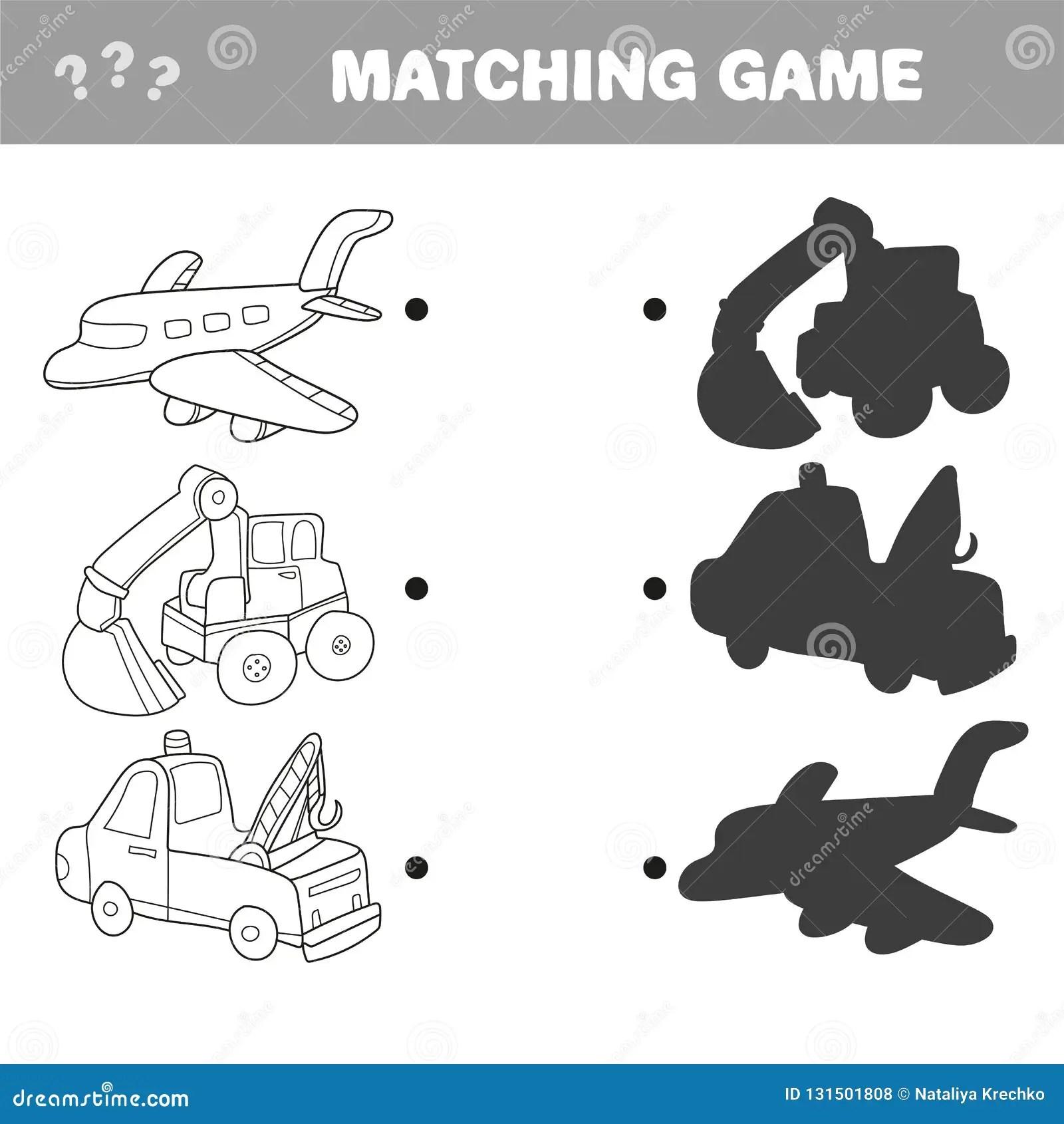 Cartoon Vector Illustration Of Education Shadow Matching