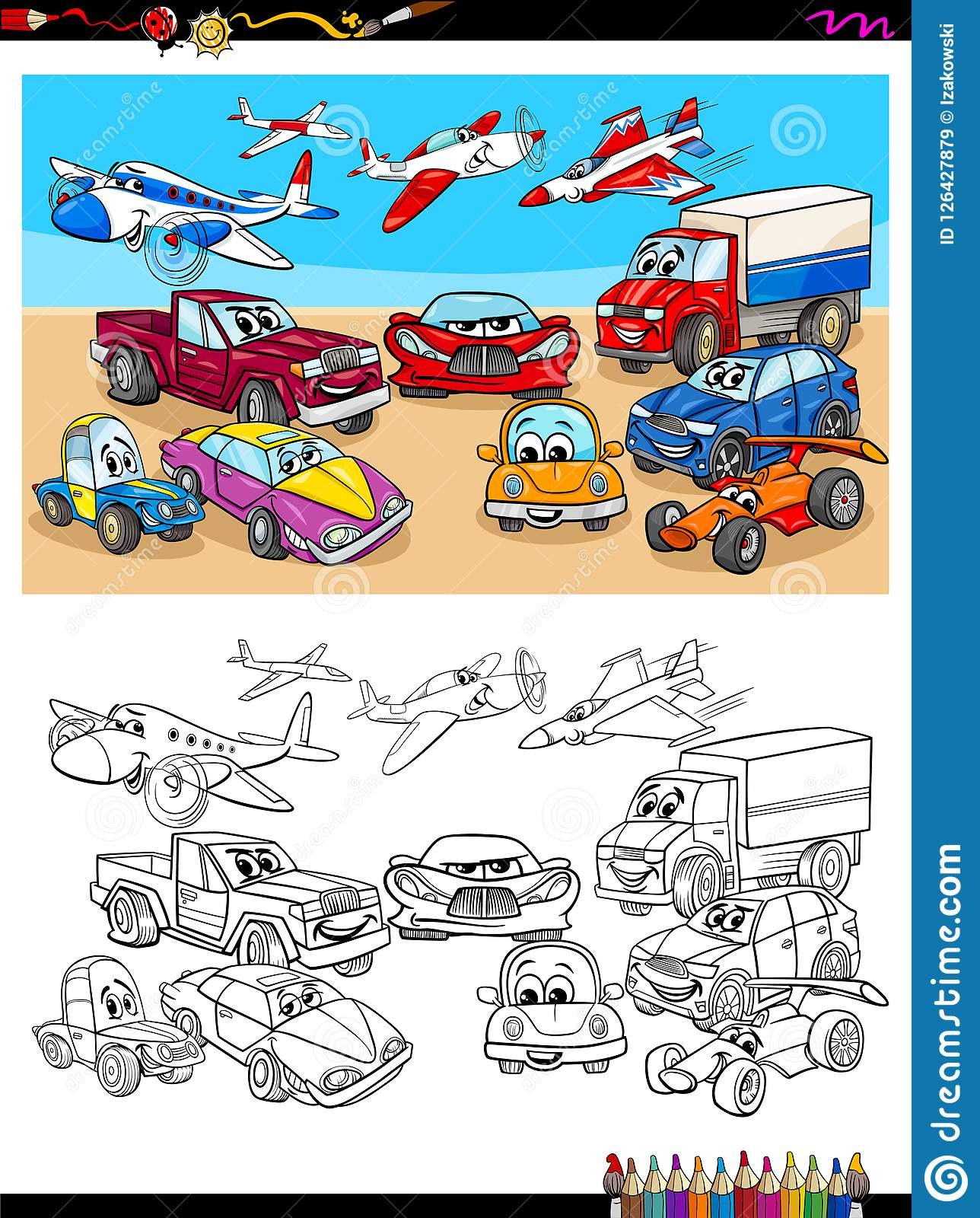 Transportation Vehicles Characters Coloring Book Stock