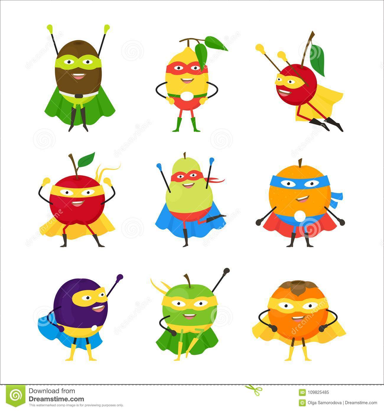 Cartoon Vegetables Superhero Characters Icon Set Vector