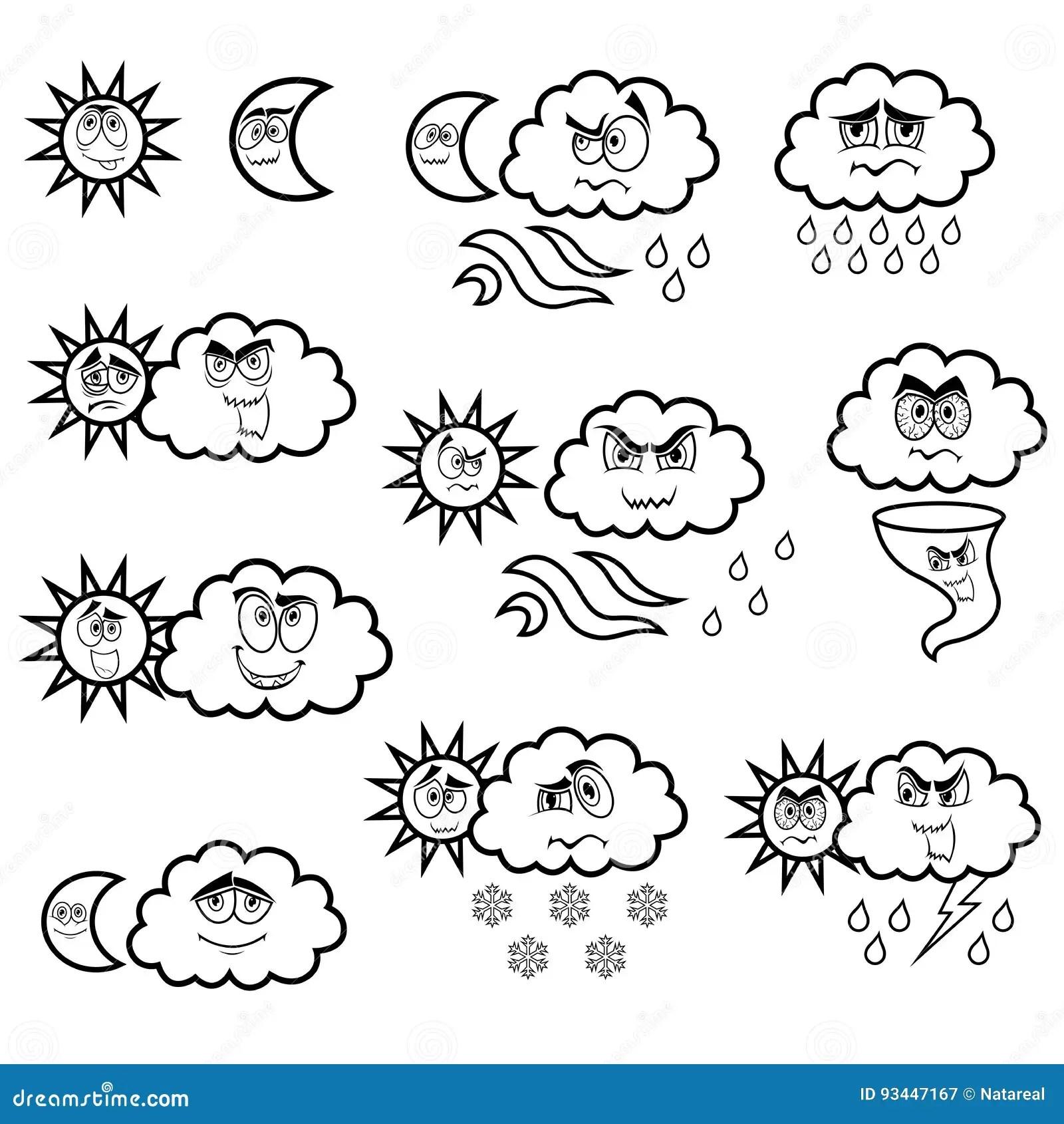 Cartoon Weather Symbols Cartoon Vector