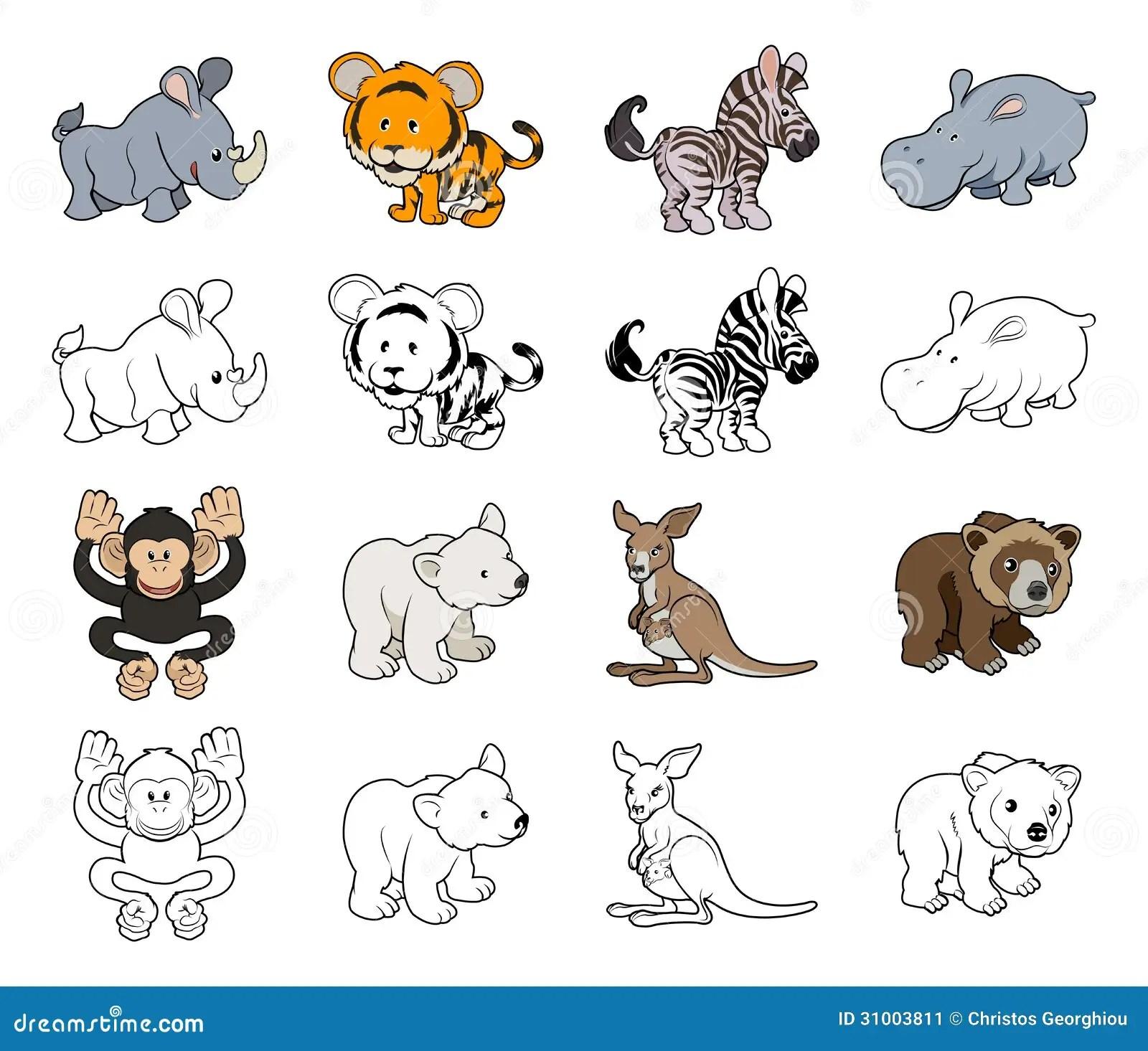 Cartoon Wild Animal Illustrations Stock Vector