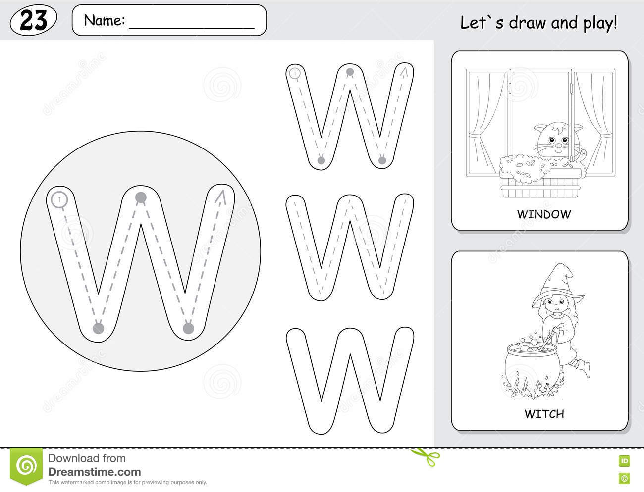 Cartoon Witch And Window Alphabet Tracing Worksheet