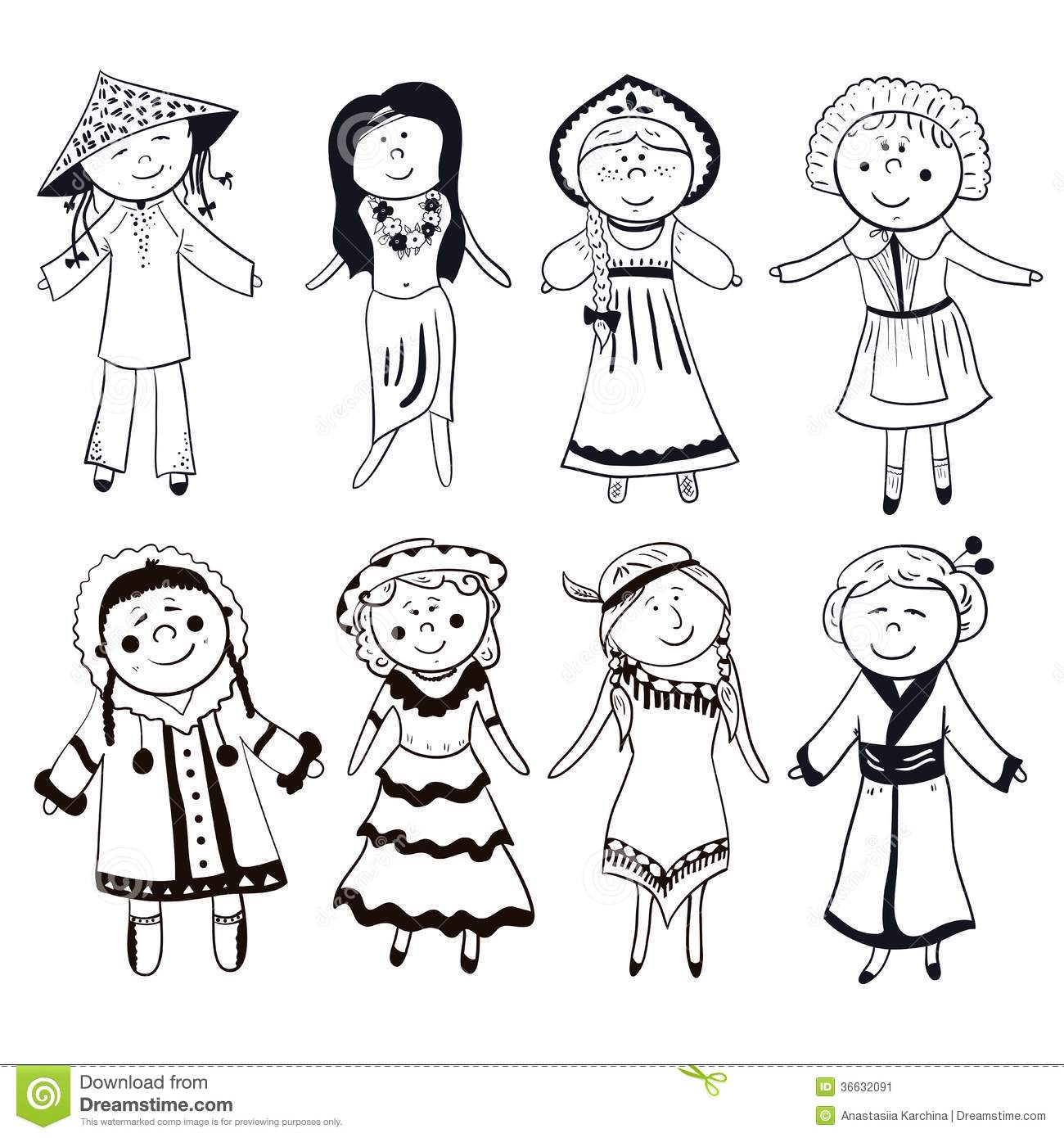 Cartoon Women In Different Traditional Costumes Stock