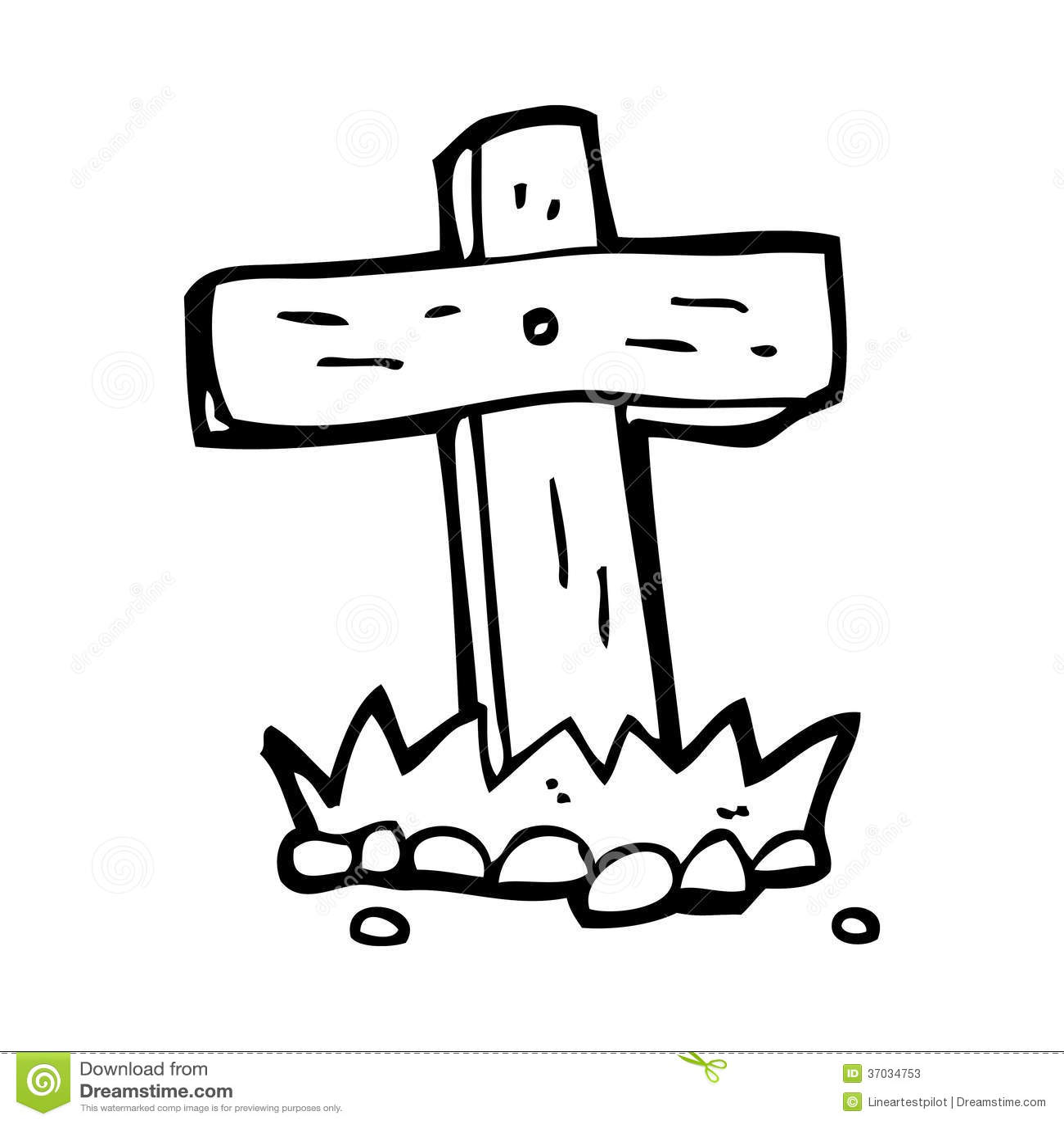 Cartoon Wooden Cross Grave Stock Illustration Image Of