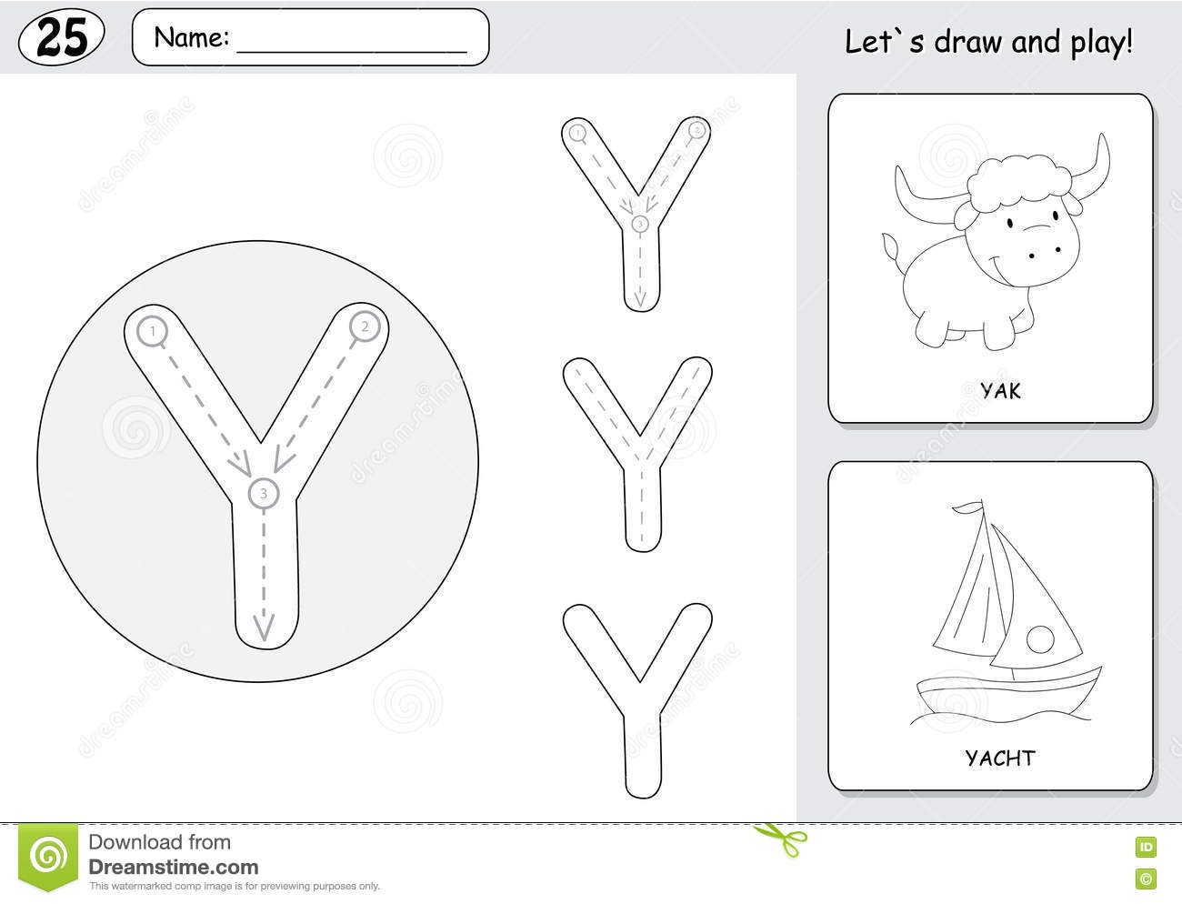 Cartoon Yak And Yacht Alphabet Tracing Worksheet Writing A Z A Stock Vector