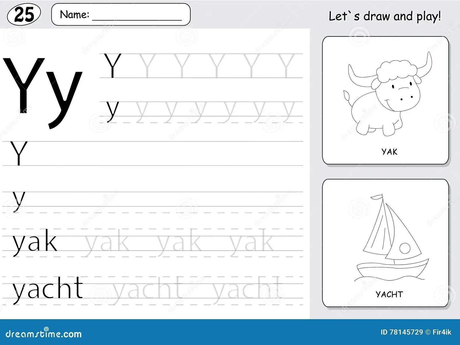 Cartoon Yak And Yacht Alphabet Tracing Worksheet Writing