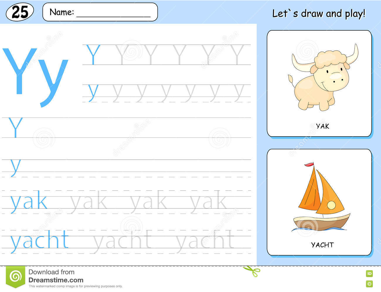 Cartoon Yak And Yacht Alphabet Tracing Worksheet Stock Vector