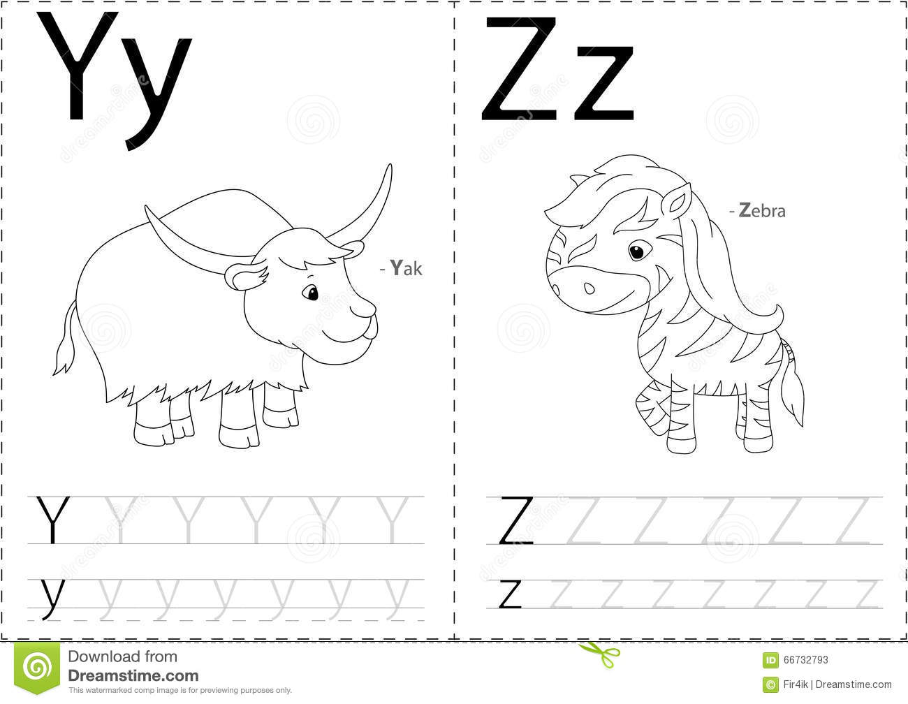 Cartoon Yak And Zebra Alphabet Tracing Worksheet Writing A Z A Stock Vector