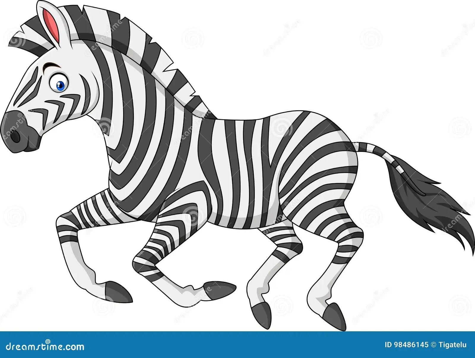 Cartoon Zebra Running Stock Vector Illustration Of Smile