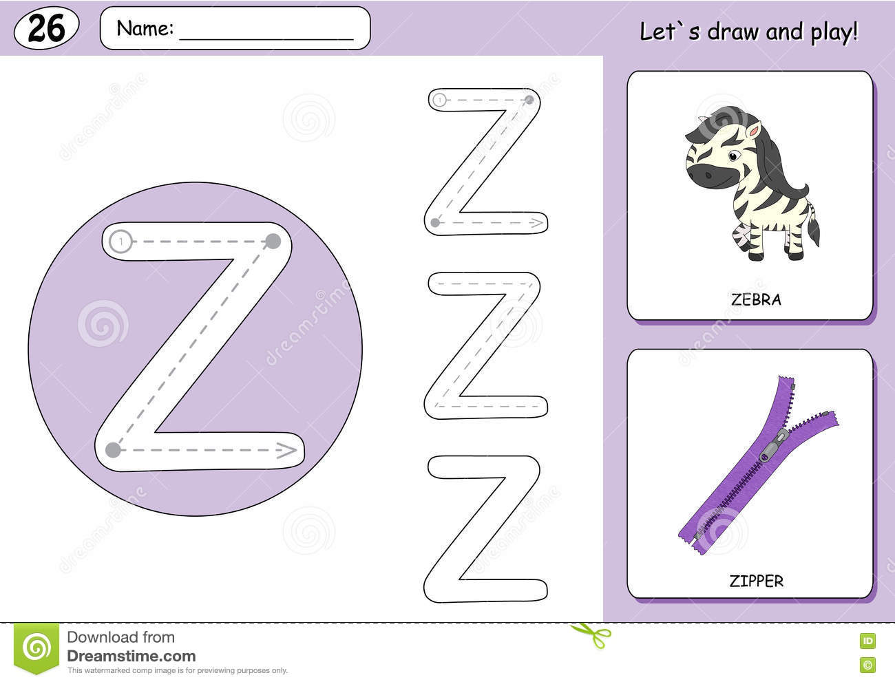 Cartoon Zebra And Zipper Alphabet Tracing Worksheet Stock