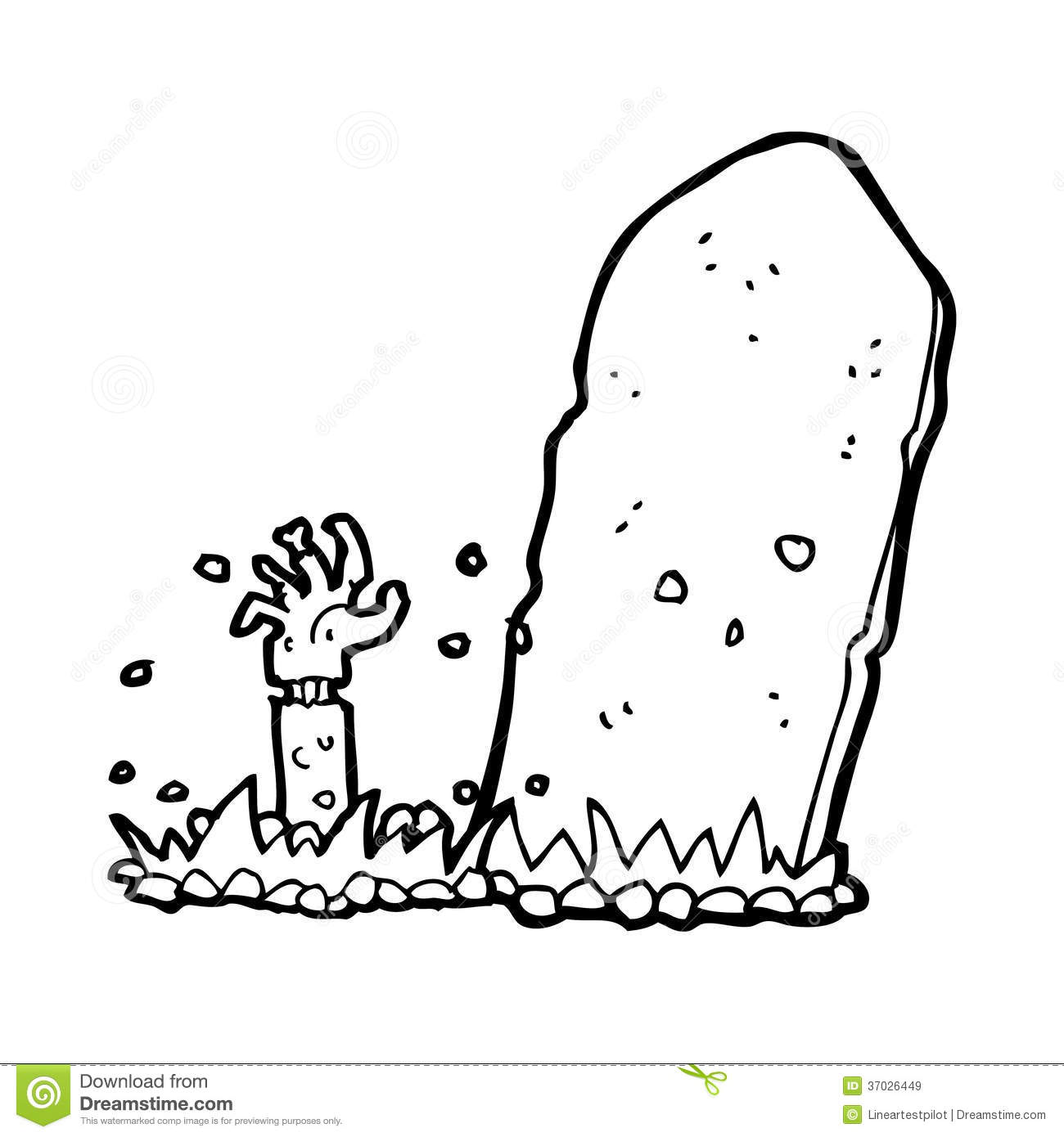 Cartoon Zombie Rising From Grave Stock Illustration