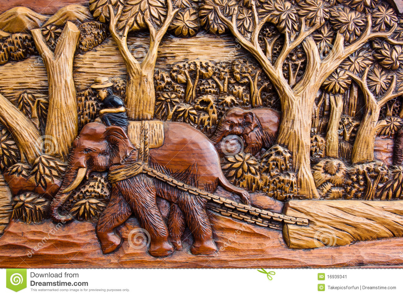 Carved Elephant At Work Stock Image Image Of Culture