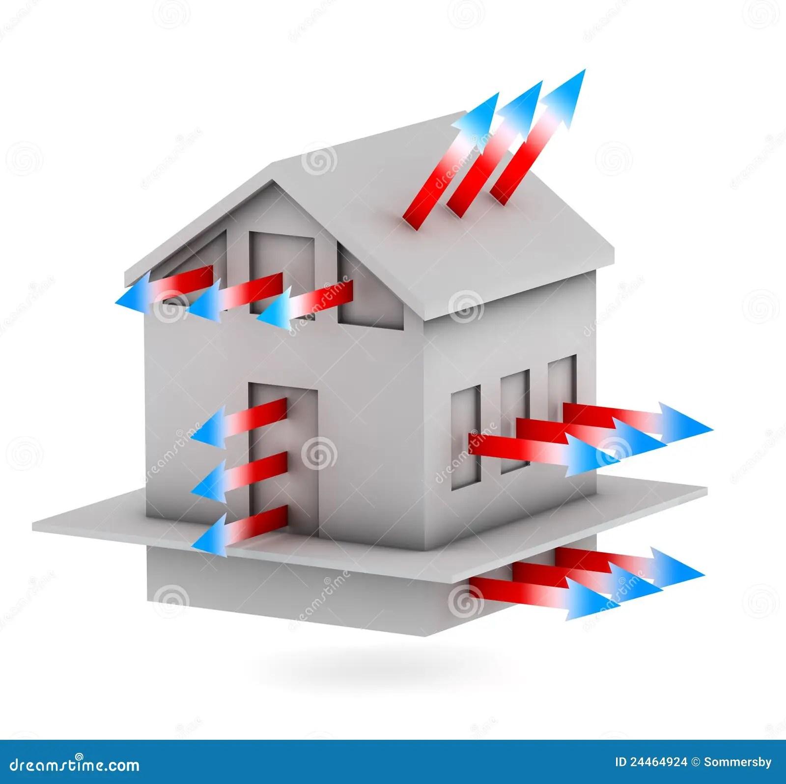 Casa Con Las Flechas De La Perdida De Calor Stock De