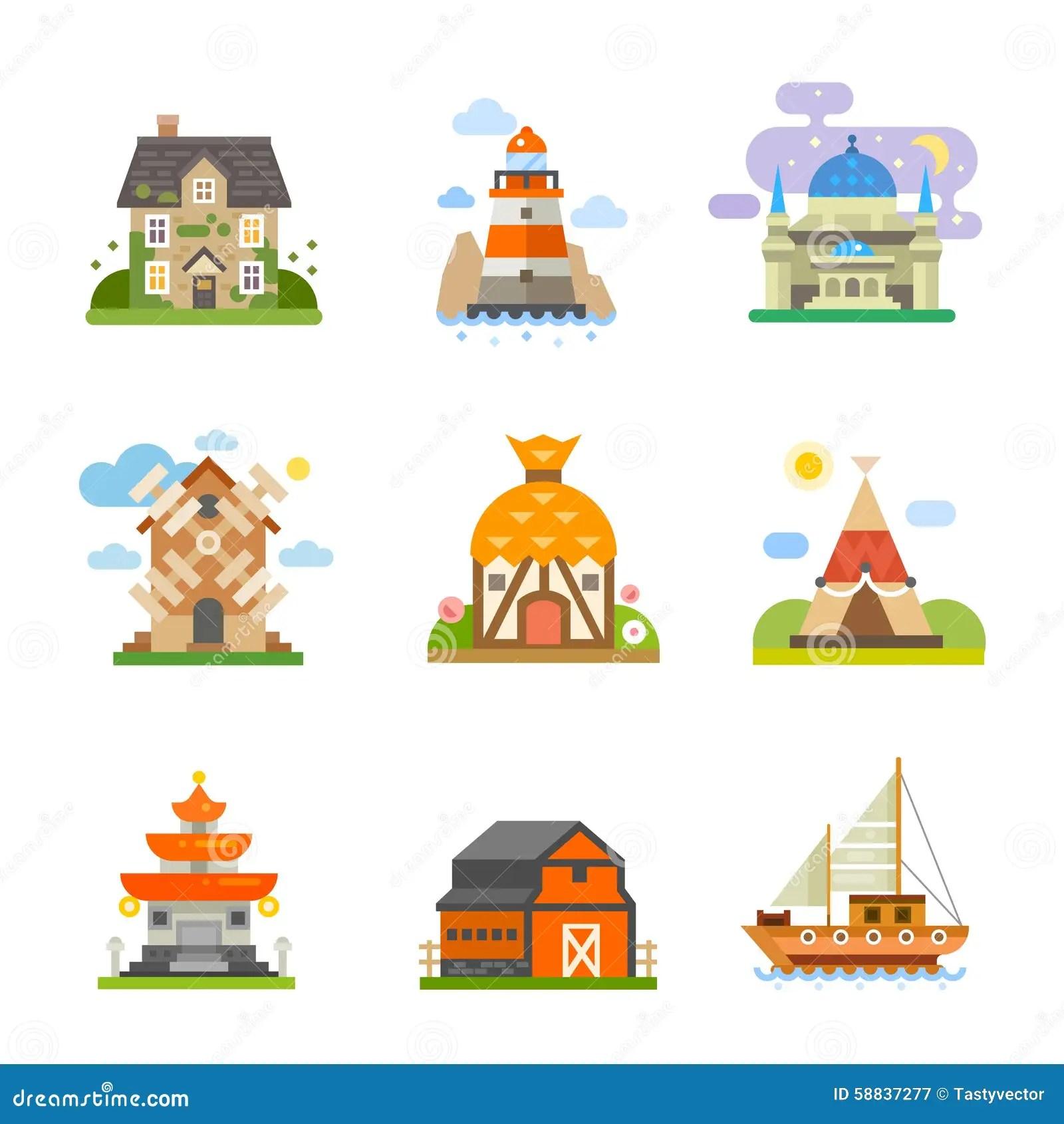Case Del Mondo Illustrazione Vettoriale Illustrazione Di