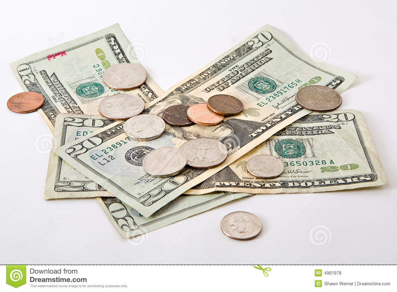 Cash And Coins Stock Photo Image Of Jackson Quarters